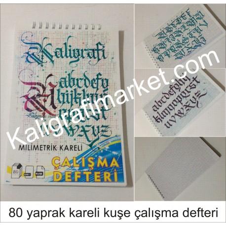 dik milimetrik kareli kaligrafi defteri