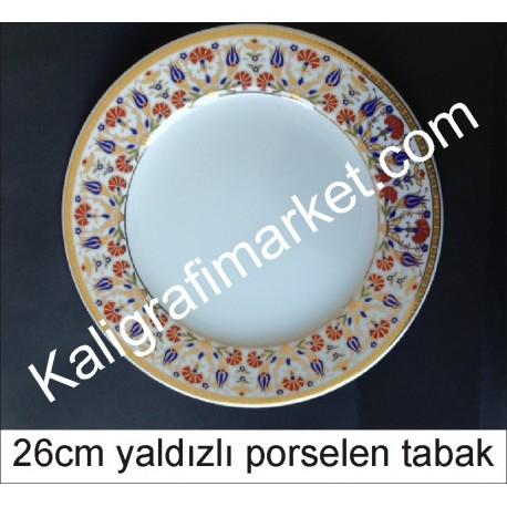 1 no yaldızlı porselen tabak